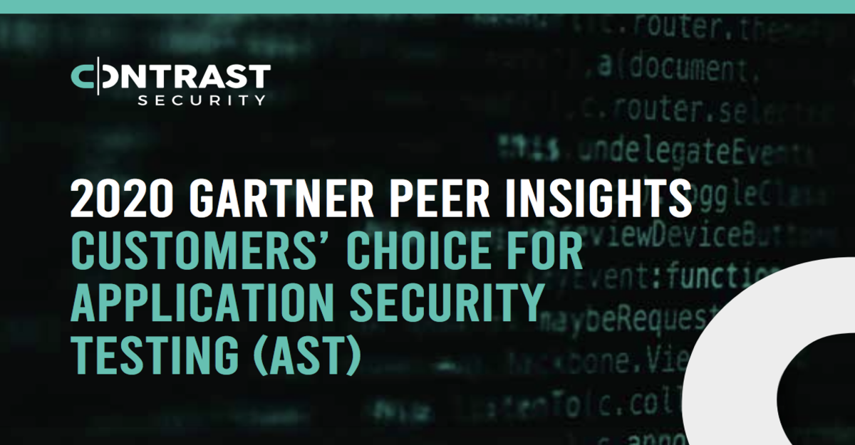 2020 Gartner Peer Insights Customers Choice for Application Security Testing