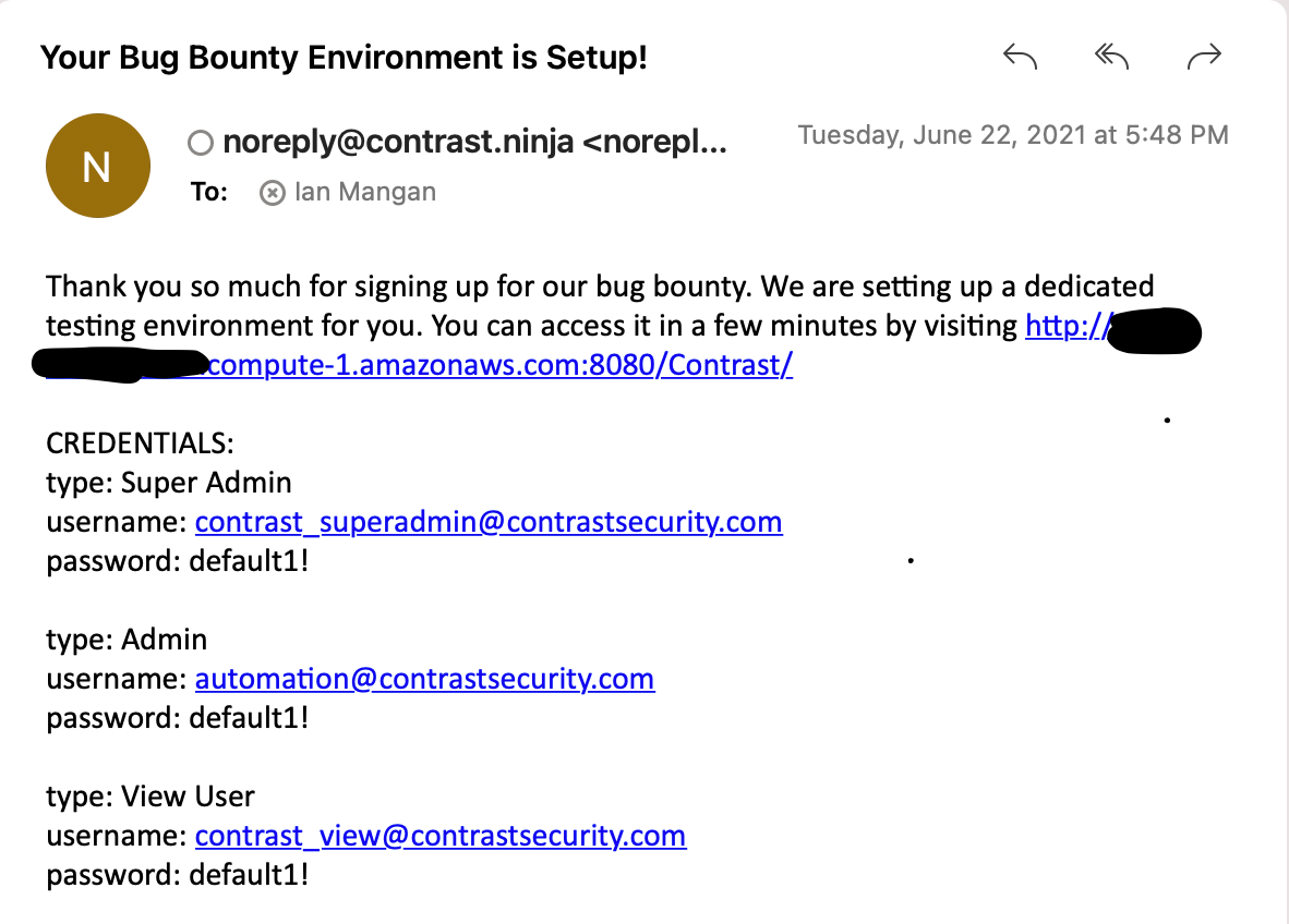 Contrast Bug Bounty email confirmation