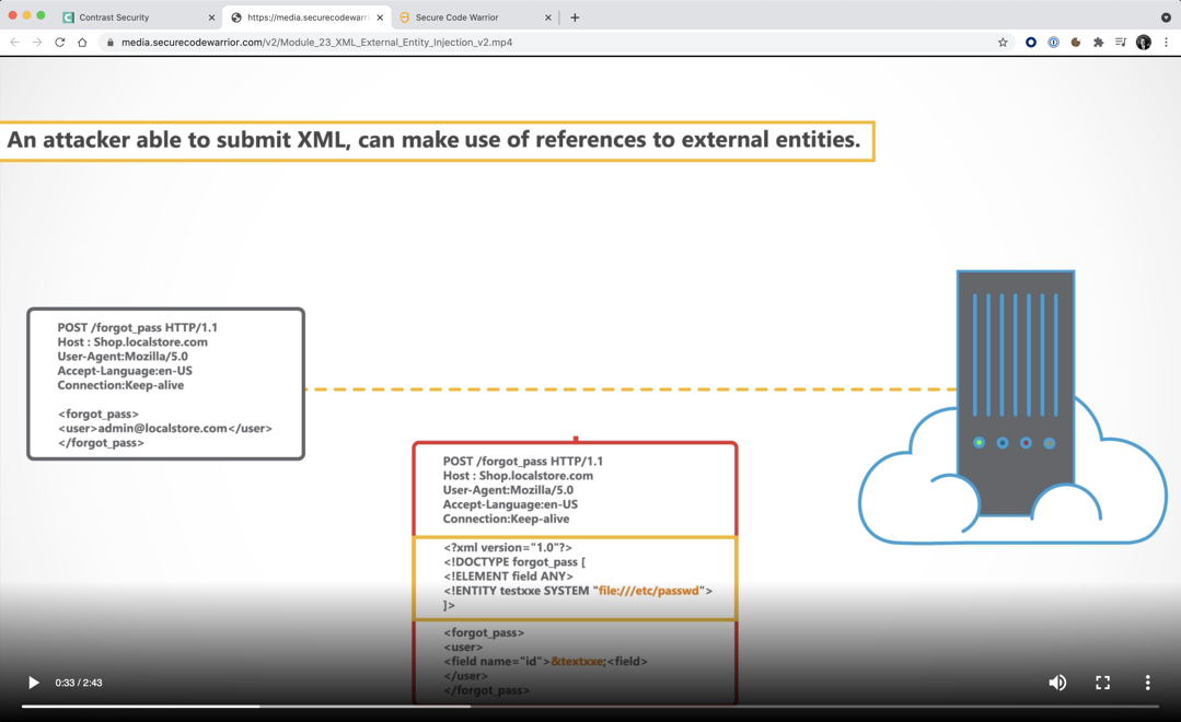 Secure Code Warrior XML External Entity Injection training video
