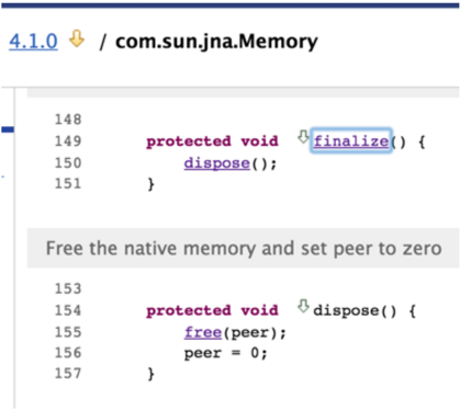 Custom code showing a look at com.sun.jna.Memory#finalize() call