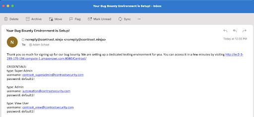 Bug bounty email