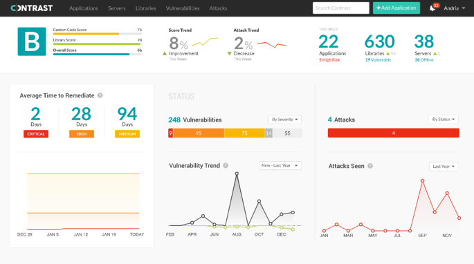 Contrast Security dashboard showing positive identification of java serialization vulnerability in real-time