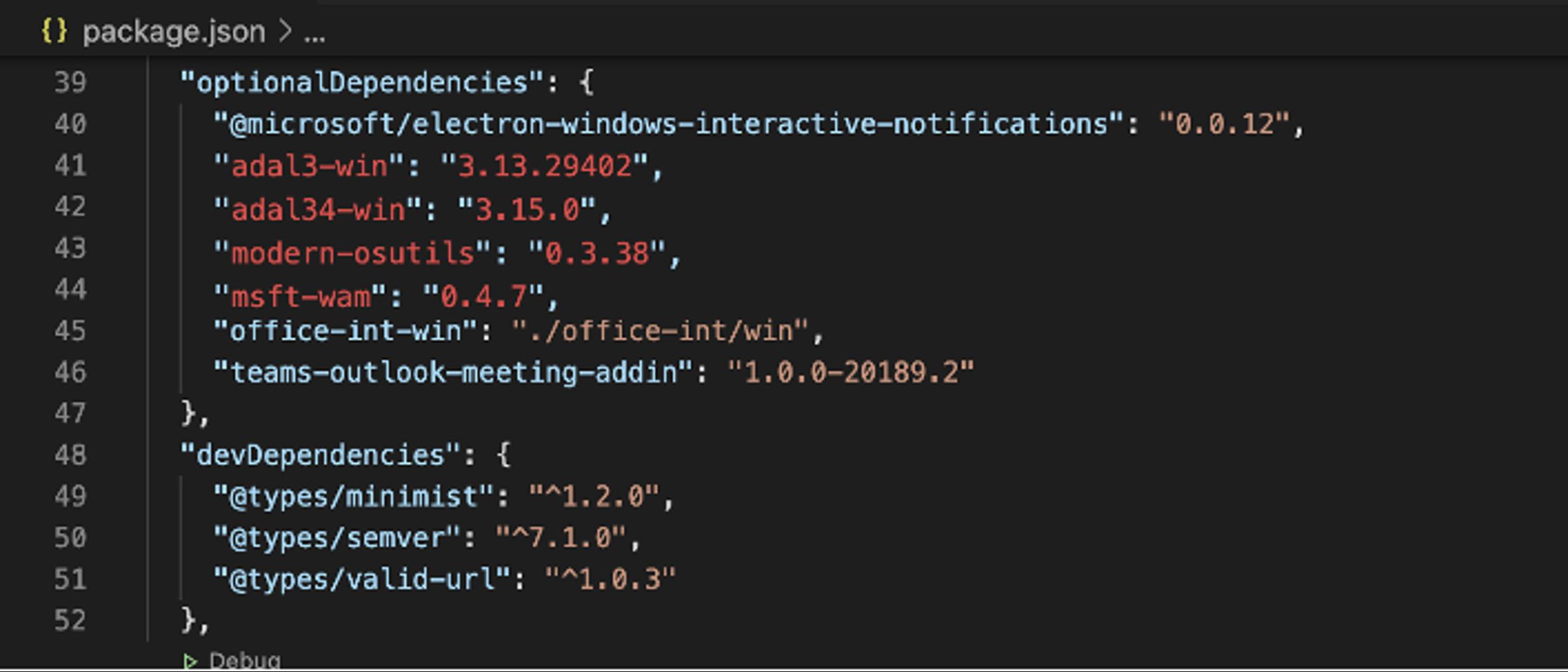 Dependency manifest found inside the Microsoft Teams' desktop application.